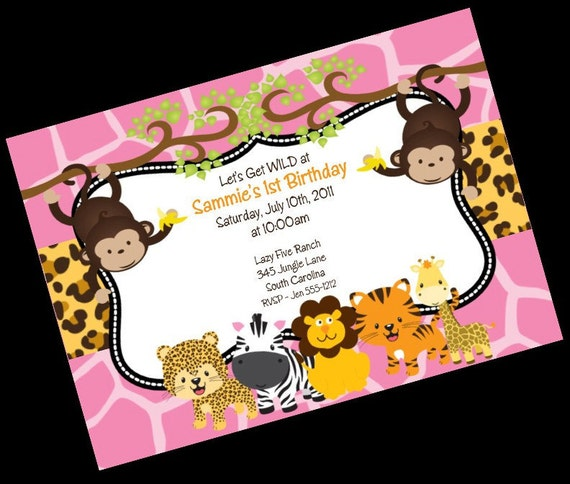 jungle safari birthday invitation - printable party invite by, Wedding invitations