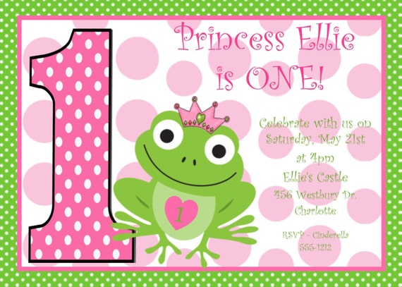 Frog Wedding Invitations: Items Similar To Princess Frog Birthday Invitation
