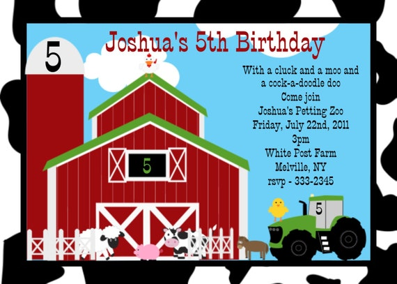 Farm Birthday Invitation - Printable or Printed - Petting Zoo ...