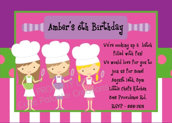 Items similar to Cooking Birthday Invitation Printable or – Kids Cooking Party Invitations