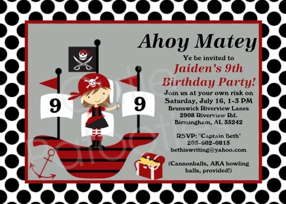 invitation d 39 anniversaire pirate fille pirate par onewhimsychick. Black Bedroom Furniture Sets. Home Design Ideas