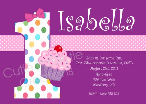 Cupcake Birthday Invitation - Printable or Printed - Cupcake 1st Birthday Party Invite - ANY AGE Available - Polka Dot Theme Invitations
