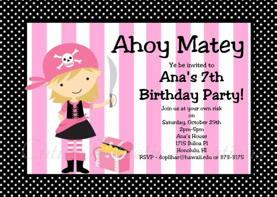 Pirate Birthday Invitation Girl Pink Pirate Party – Free Printable Pirate Birthday Party Invitations