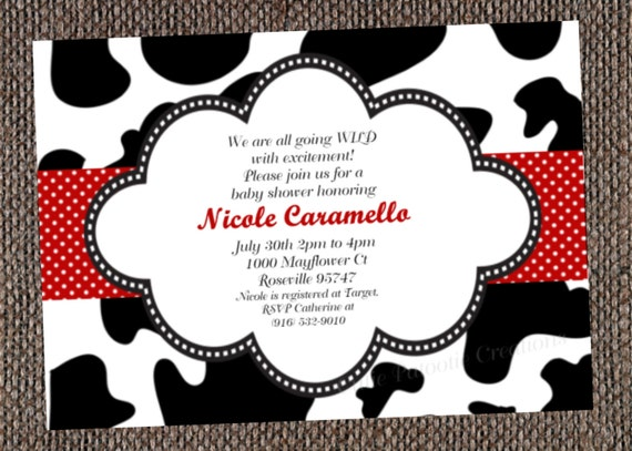 Cow Print Birthday Invitation - Printable or Printed - Cow Print Baby Shower Invitation - Cow Print 1st Birthday Invite - Cow Print Party