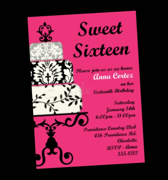 items similar to sweet  birthday invitation, sweet sixteen party, Birthday invitations