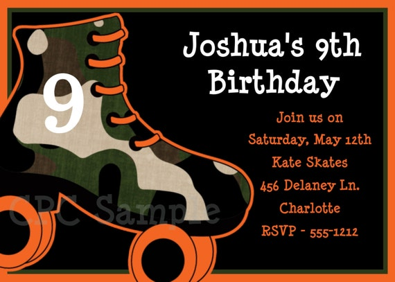 Boys Rollerskating Birthday Party Invitations Printable Or
