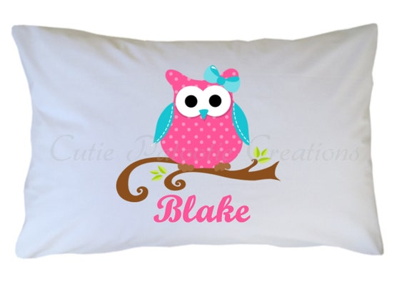 Personalized Owl Pillow Case, Standard, Travel, Toddler Size
