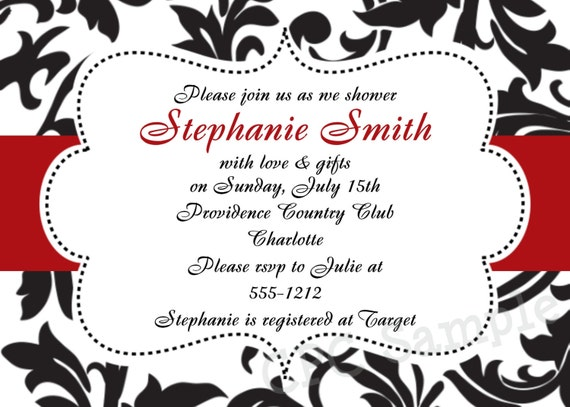 Red And Black Wedding Invitations Templates: Items Similar To Black And White Damask Invitation