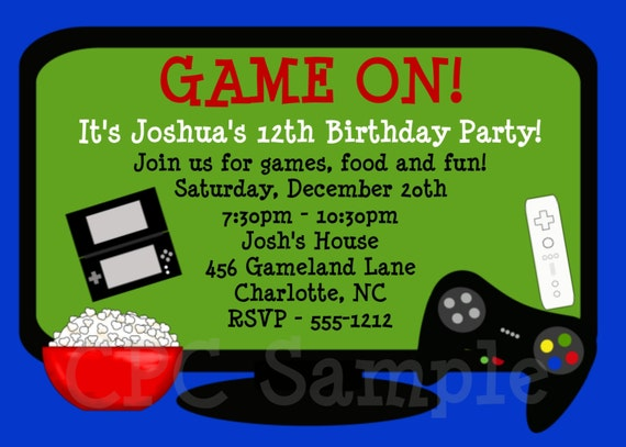 Video Game Birthday Invitation - Printable Party Invite