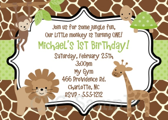 items similar to jungle monkey safari birthday invitation, Birthday invitations
