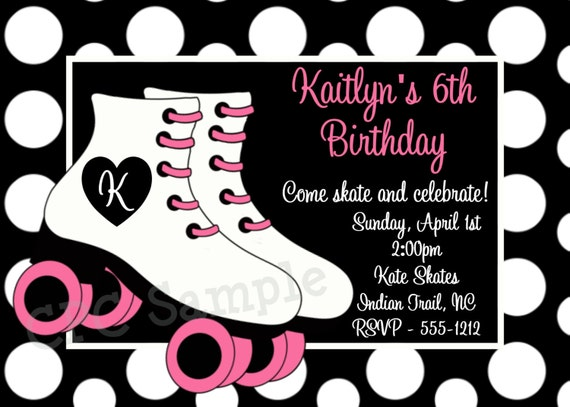 rollerskating birthday invitation printable or printed, Birthday invitations