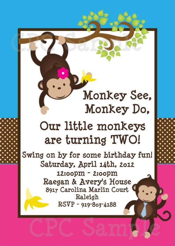 Twins Monkey Birthday Invitations Printable Party Invite