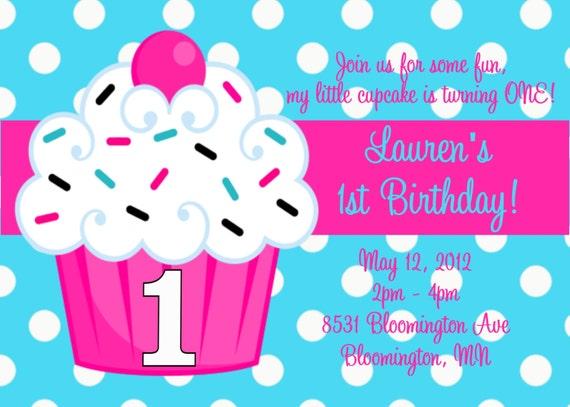 Cupcake 1st Birthday Party Invitations