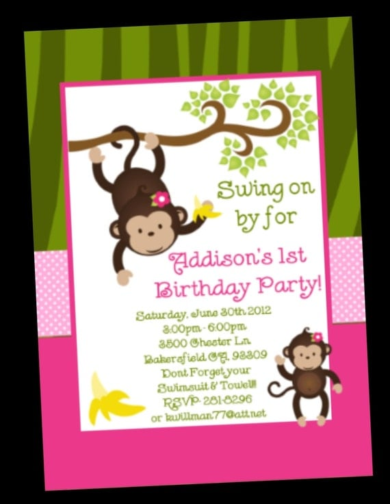 Monkey Love Invitations Monkey Birthday Invitation