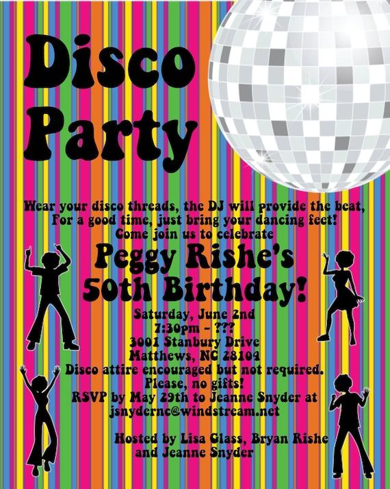 disco party invitations 70's disco dance party, Birthday invitations