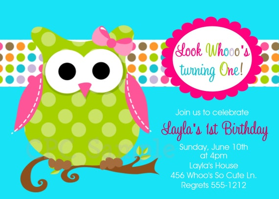 Owl Birthday Invitations, Printable or Printed Invite