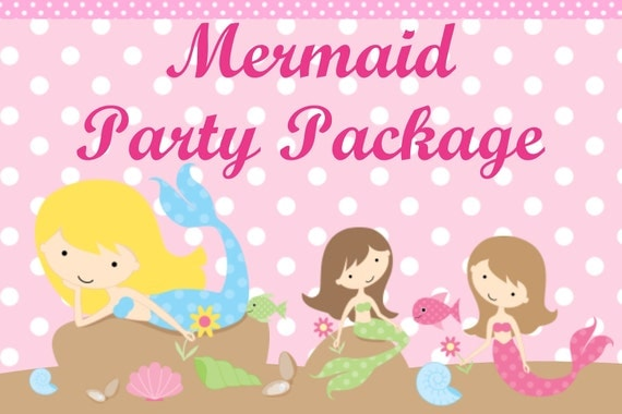 Mermaid Birthday Invitation, Party Decorations, Party Supplies, Party Collection, Birthday Decorations