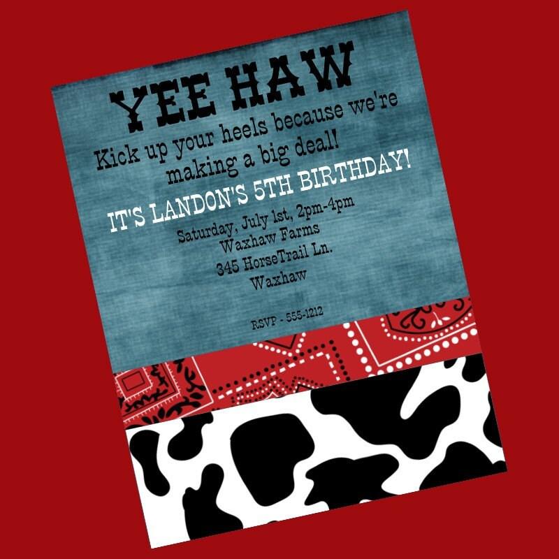 Western Birthday Invitation Cowboy Cowgirl Invitations
