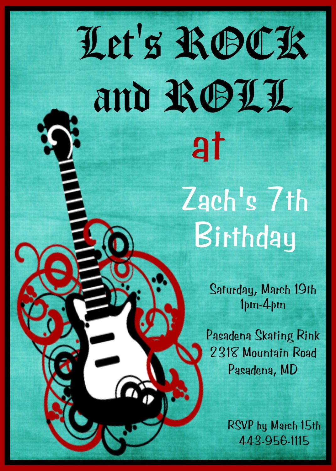 Guitar Party Invitations