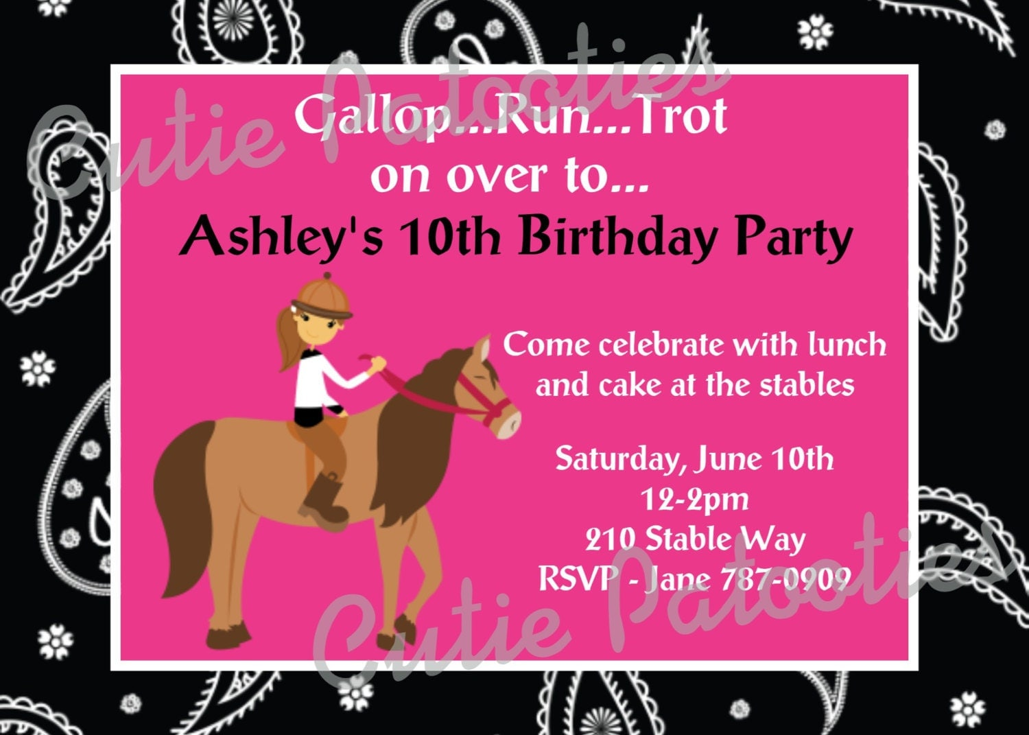 Horse Birthday Party Invitations and get inspiration to create nice invitation ideas