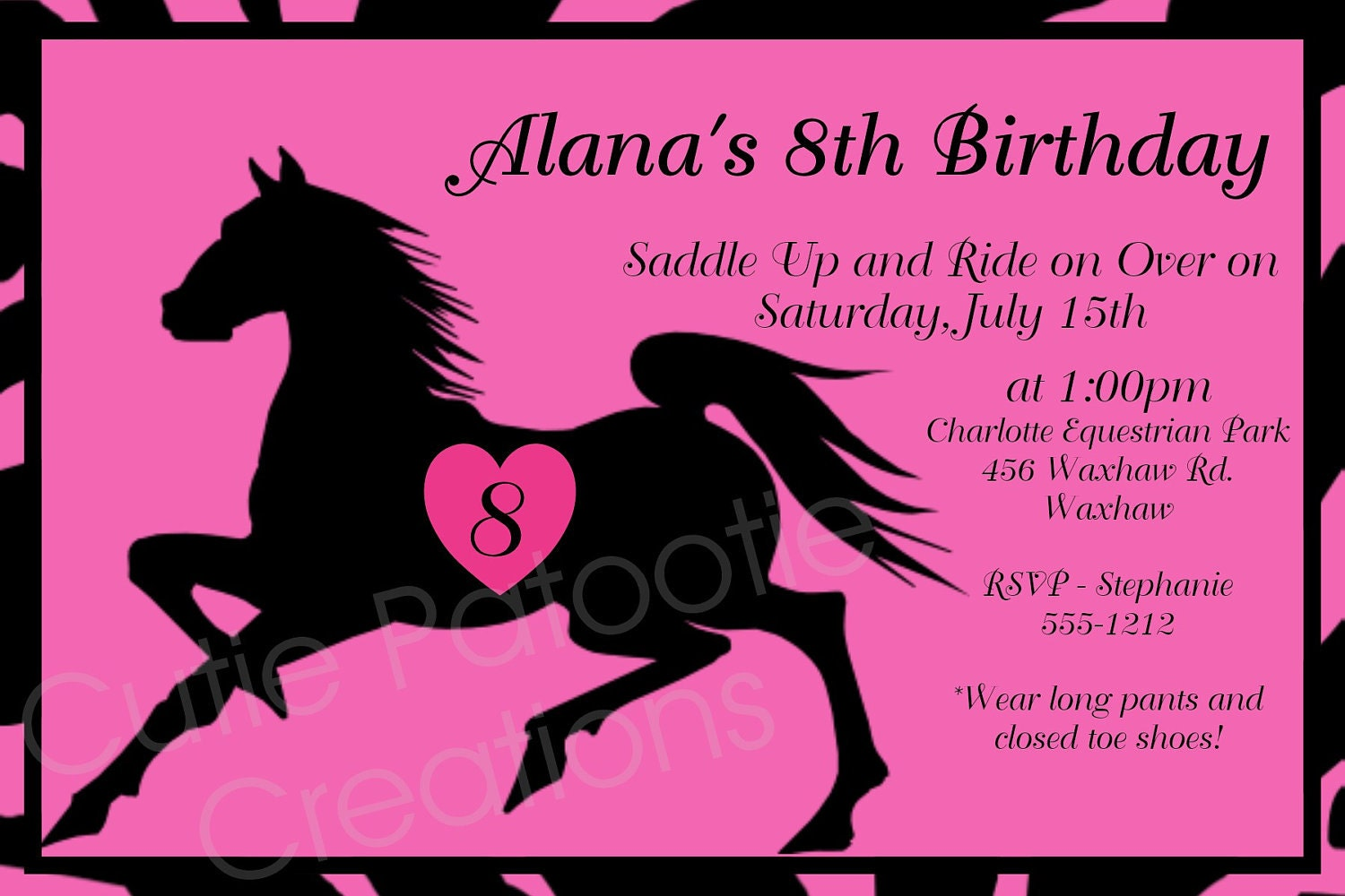 Modest image regarding horse birthday invitations free printable