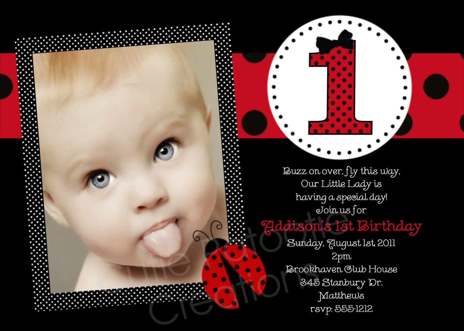 ladybug 1st birthday invitation template