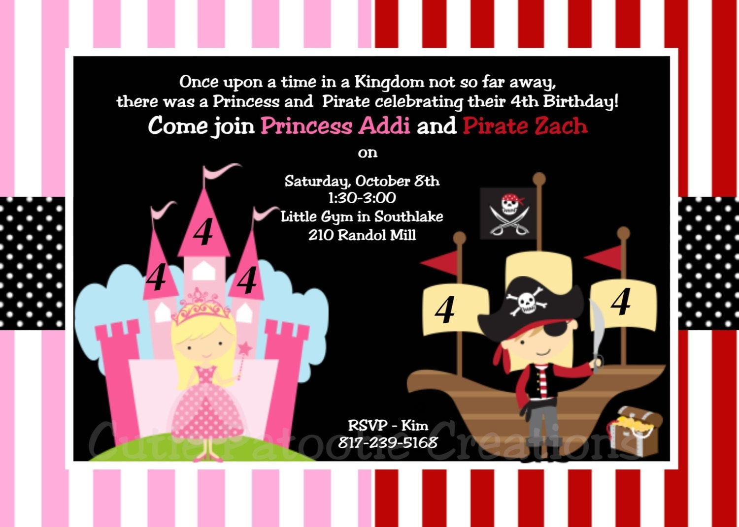 Princess and Pirate Birthday Invitation Princess and Pirate – Princess and Pirate Birthday Invitations
