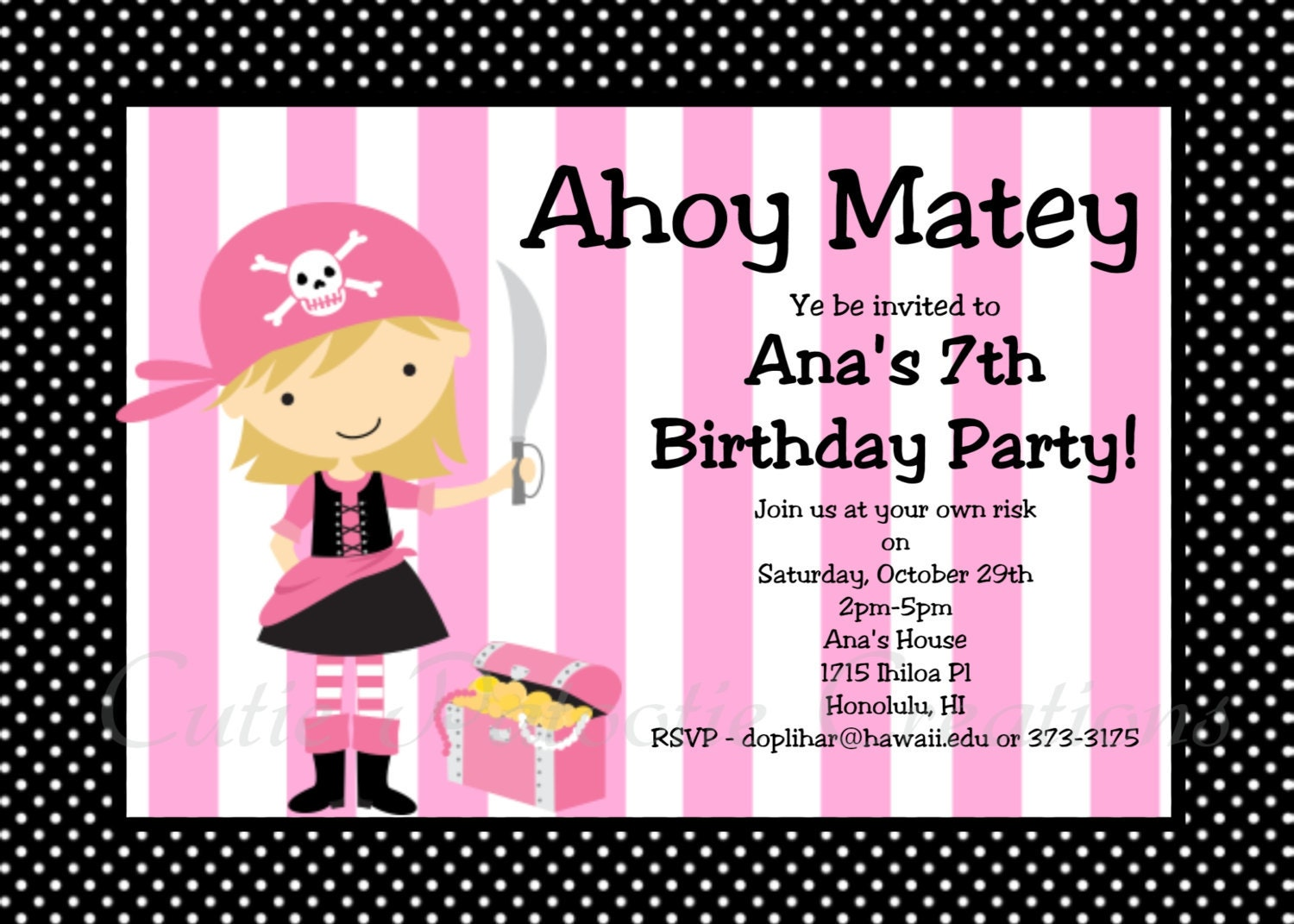 girl pirate birthday invitation pink by cutiestiedyeboutique. Black Bedroom Furniture Sets. Home Design Ideas