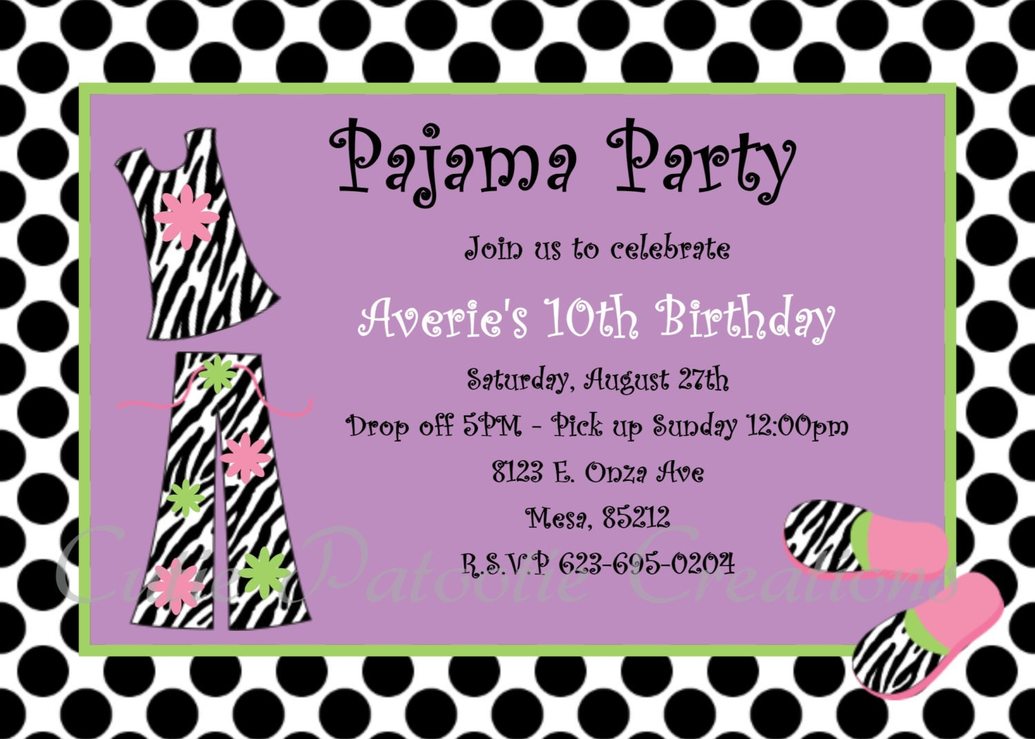 Pajama Party Birthday Invitation Printable or Printed – Pajama Party Invites