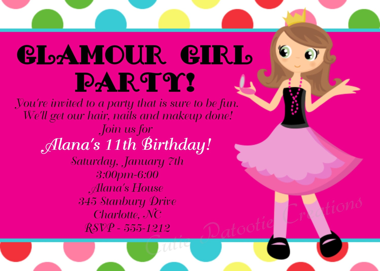 Glamour Girl Birthday Invitation Printable or Printed – Girls Birthday Party Invite