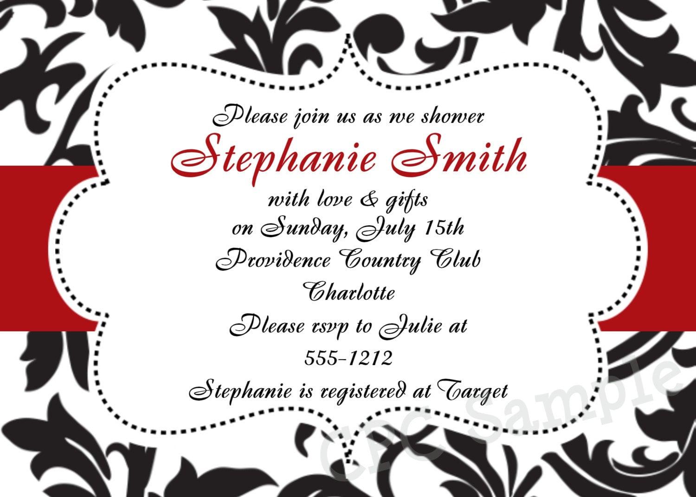 Wedding Invitations Red And Black: Black And White Damask Invitation Baby Shower Birthday