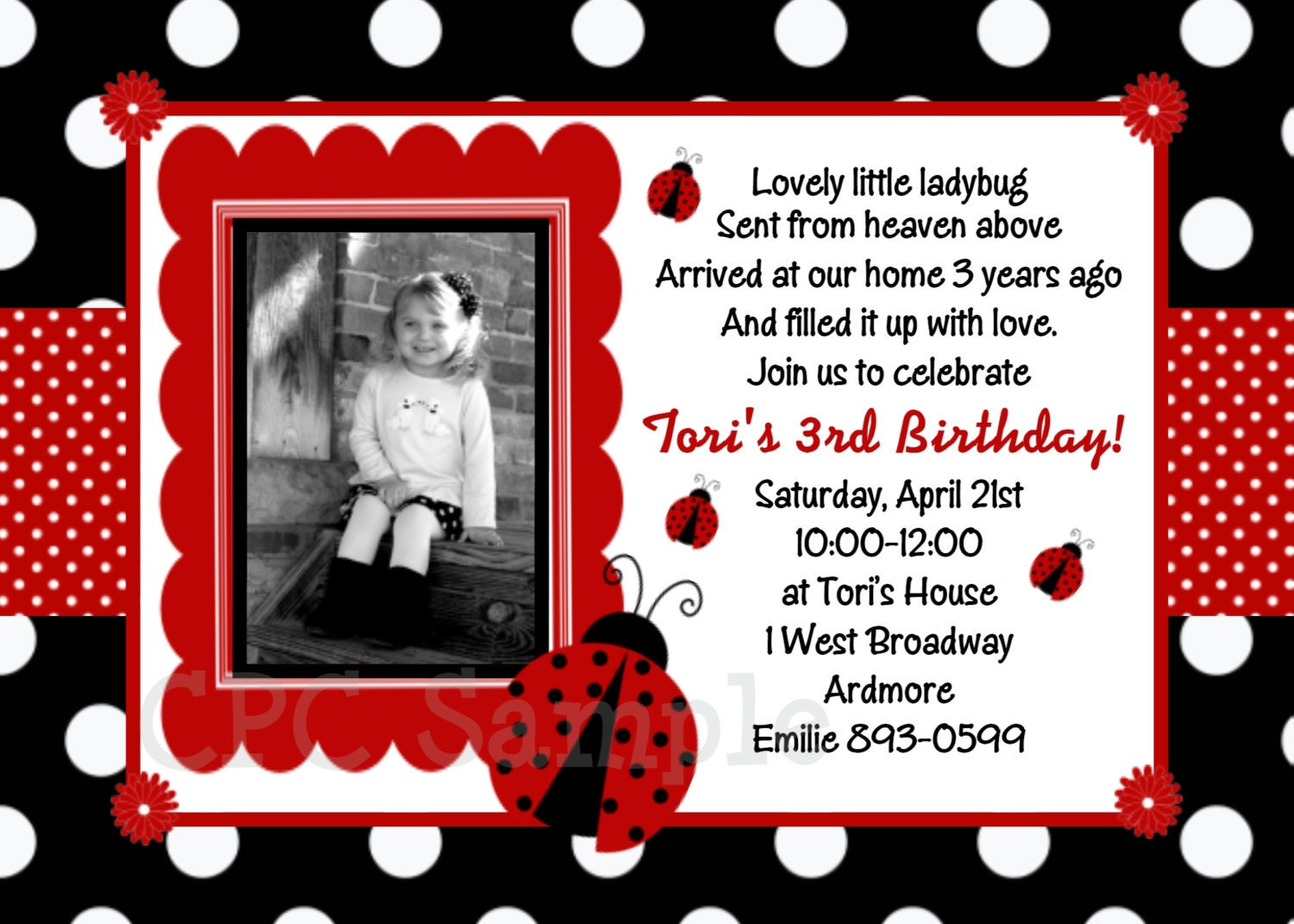 Ladybug Invitation Ladybug Party Birthday Invitations – Ladybug Invitations 1st Birthday