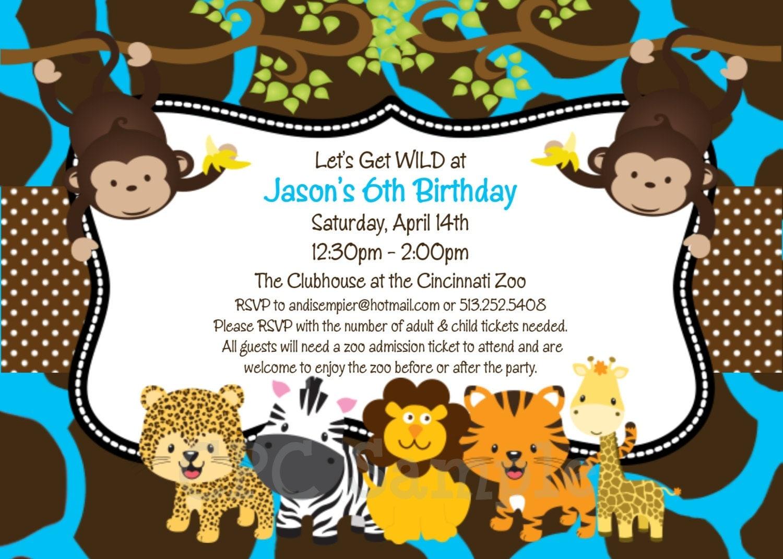 Jungle Birthday Invitation Safari Baby Shower Invitations – Jungle Party Invitation