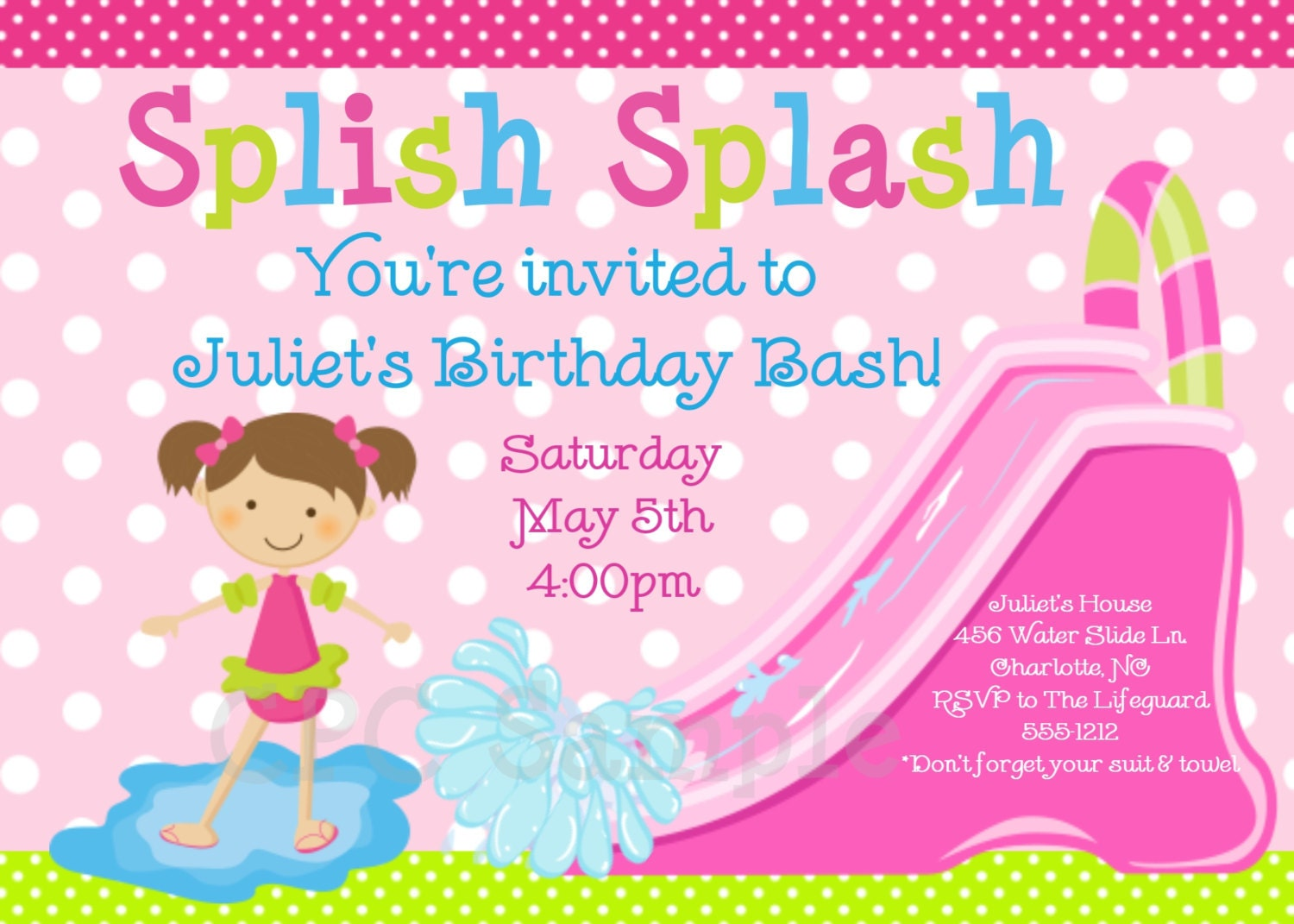 Pool Party Invitation Water Slide Birthday Invitation – Water Slide Party Invitations