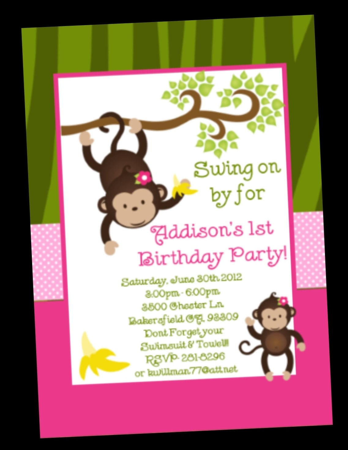 Monkey Birthday Invitations
