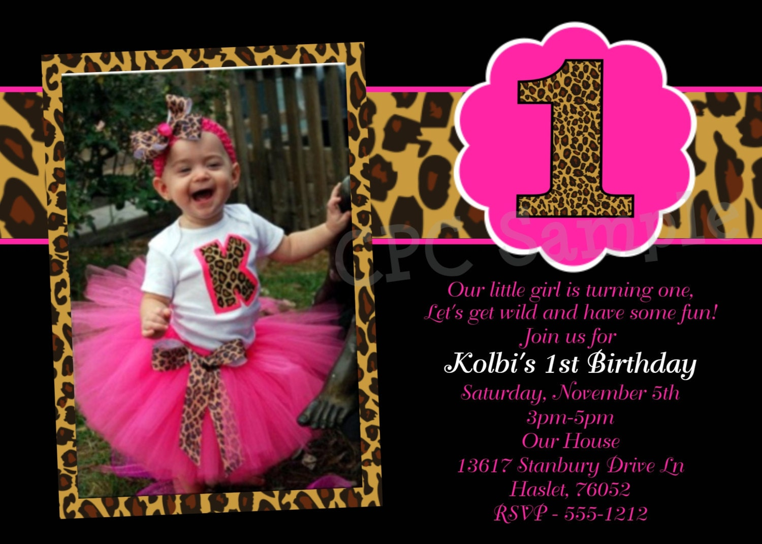 Hot Pink Leopard 1st Birthday Invitation USE for ANY AGE – Pink 1st Birthday Invitations