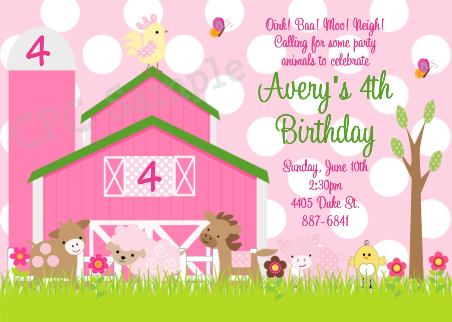 Pink Farm Birthday Invitation Pink Farm Invitations
