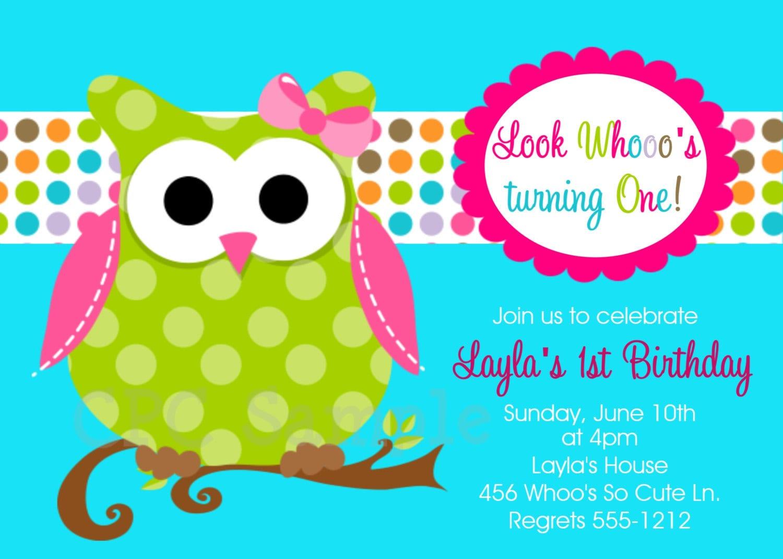 Owl Birthday Invitations Printable or Printed Invite – Owl Birthday Invitations