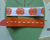 Orange Owl Hair Clips