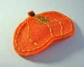 Embroidered Felt Pumpkin Snap Clip Fall Autumn