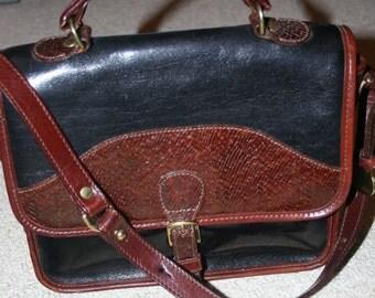 Vintage Brahmin handbag shoulder two tone bag purse woven