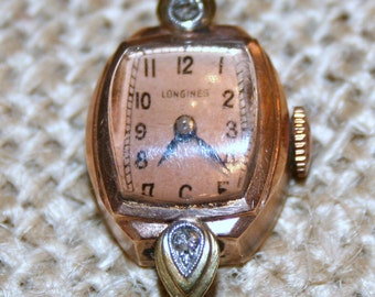 Vintage Longines 14K solid rose gold and diamond watch Works Great SALE PRICED