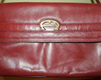 Vintage Handmade Aigner Clutch Shoulder Bag Purse Classic Burgundy