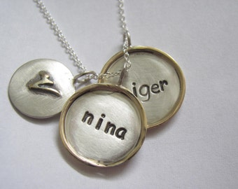 Frameed Disc Necklace - Three Silver and gold Discs one with raised initials