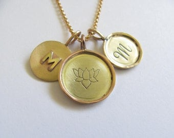 Solid 14k Gold Three Charm Necklace