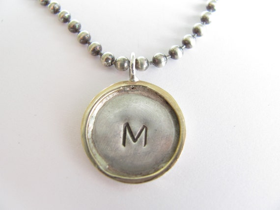Sterling Silver and 14k gold Ball Chain Framed Disc Necklace