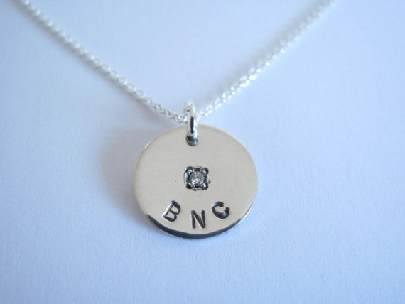 Sterling Silver Initial Disc Necklace with Diamond