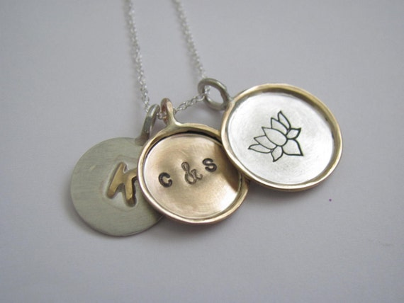 Three framed disc necklace - sterling silver and 14k gold