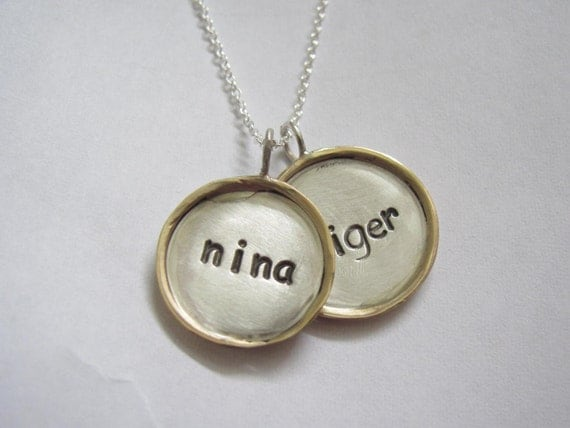 Framed Disc Necklace (2 Medium Silver, 14k gold charms)