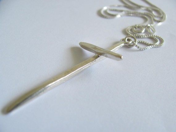 Hand Forged Sterling Silver Cross Necklace